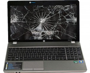 Laptop with a broken screen
